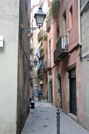 Barcelona, Spain: Typical street in La Ribera