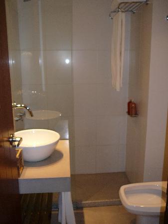 Mine Hotel Boutique: Notice the half-shower-door. Great sink, though.