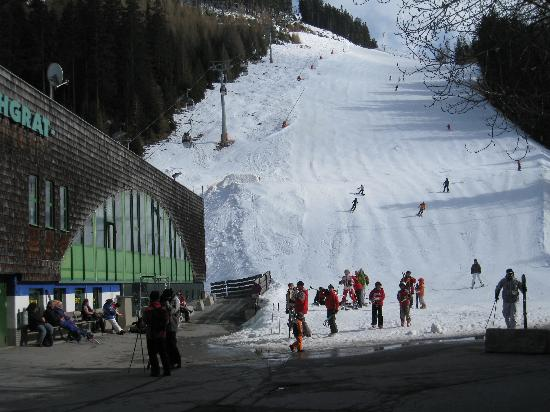 Ischgl, Austria: The view up the R1A from out the front of the Elisabeth