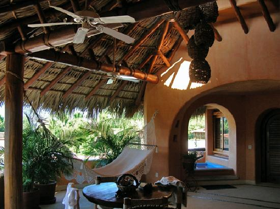Villa Carolina Hotel: the hammock and sauna, open air area of master suite