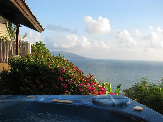 Tongson Villas: View from inside the Jacuzzi