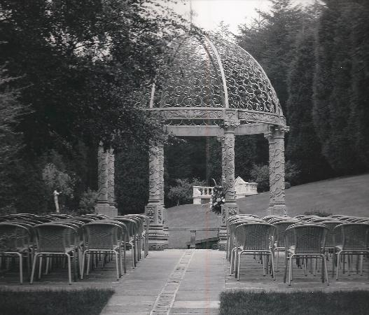 Delph, UK: sandstone gazebo for outdoor ceremonies