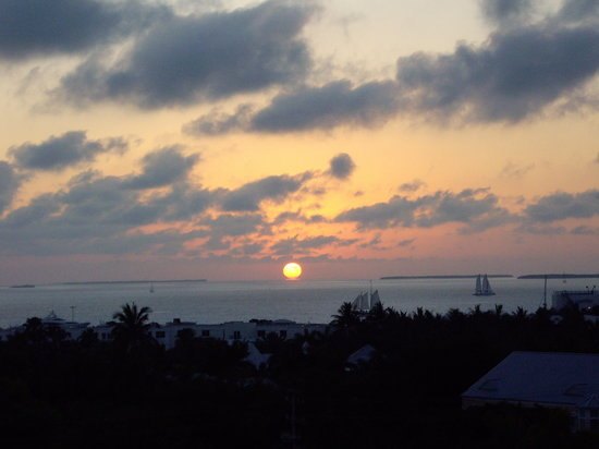 Florida Keys, FL: Sunset, cloudy day, from Hyatt Roof deck