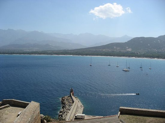 Calvi, France: Bay and distant beach from Citadel