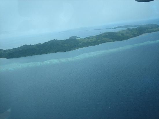 Lau Group: Part of the S shaped island of Vanua Balavu as we flew in