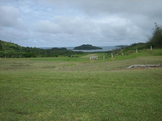 Lau Group: The grass strip runway at Vanua Balavu