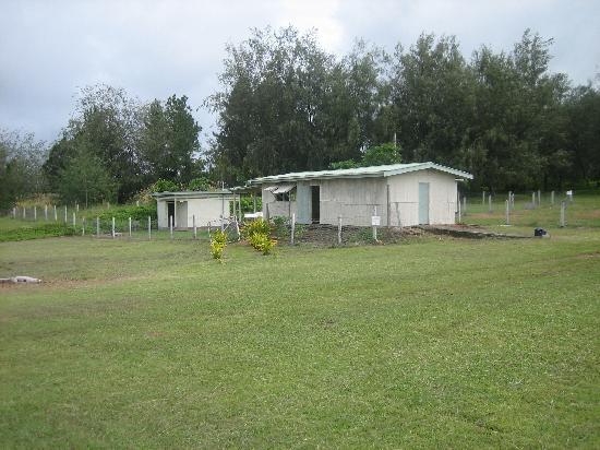 Lau Group: airport terminal and wash room at Vanua Balavu