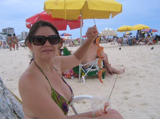 Sol Ipanema Hotel: My wife enjoying the shrimp on the beach