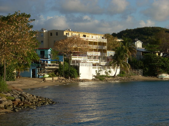 Vieques Ocean View Hotel: View of the hotel from the ferry port