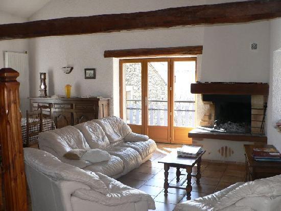 Les Cariolettes: le salon et la cheminée