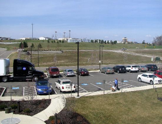 Hilton Garden Inn Akron-Canton Airport: View from our room of the Akron/Canton airport (and a NASA truck!)