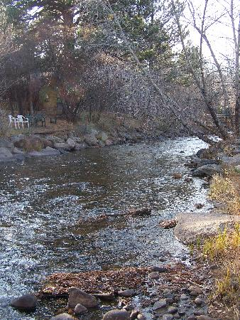 Deer Crest Resort: Looking upstream (West) along the Fall River