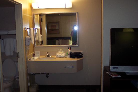 Holiday Inn Express Austin Airport: View of vanity from bedroom