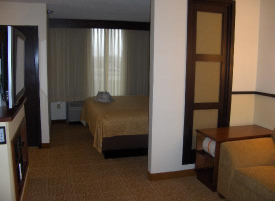 Hyatt Place Indianapolis/Keystone: You can see the bed on the other side of the half wall