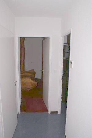 Appart'City Confort Lyon Vaise : hallway from entrance, left to toilet, ahead to bedroom and right to living room/kitchen