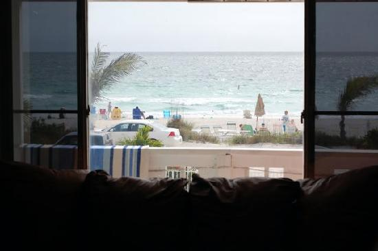 White Sands Beach Resort: view from liv. room of Room 12