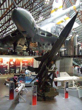 Royal Air Force Museum Cosford: View of aircrafts inside hanger.