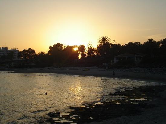 Nissi Beach Resort : Evening view from rondavel bar
