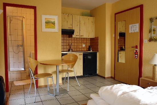 Hotel de l'Ecluse: View of kitchenette and shower stall