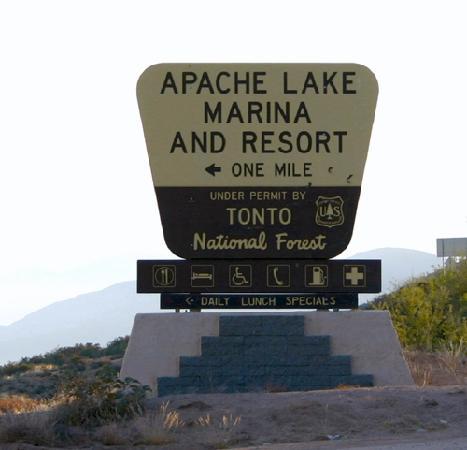 Apache Lake Resort sign from AZ Rt. 88
