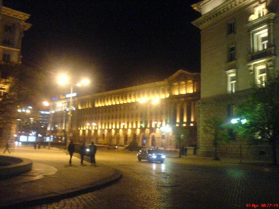 Sofia city centre by night