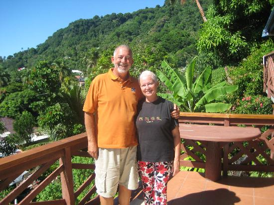 Levuka, Fiji: Owners standing on their balcony