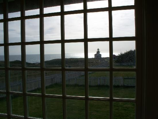 Point Cabrillo Light Station: View of the light from the house gallery
