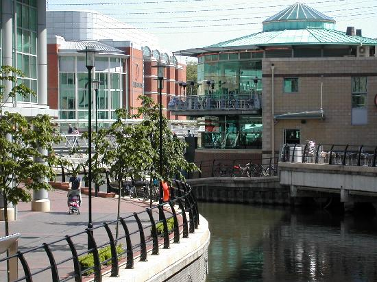 The River Kennet going through the Oracle shopping centre