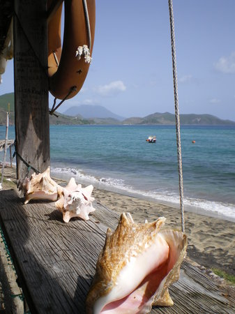 Frigate Bay, St. Kitts: View from the Ship Wreck bar at South Friars beach