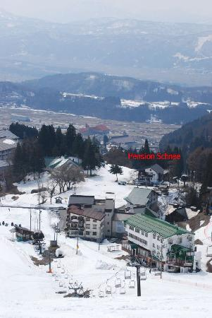 View of Pension Schnee from the slopes