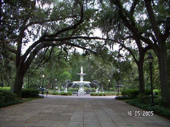 Savannah International Pensione: The gorgeous fountain park a block away.