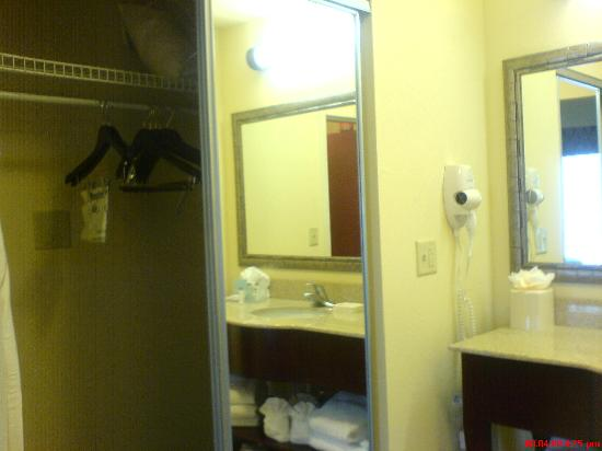 Hampton Inn & Suites Orlando - John Young Pkwy / S Park: Sink&closet (with iron, ironing board, extra pillows and blankets)
