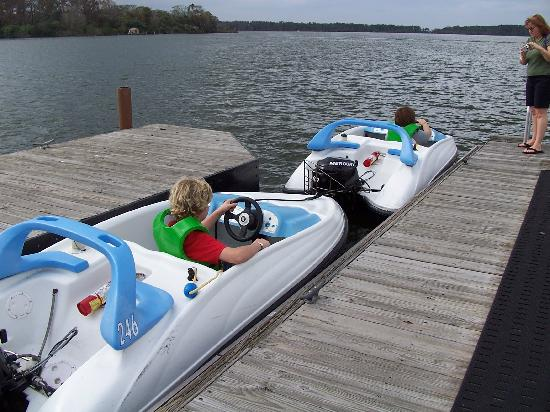 The Campsites at Disney's Fort Wilderness Resort: The kids driving the boats