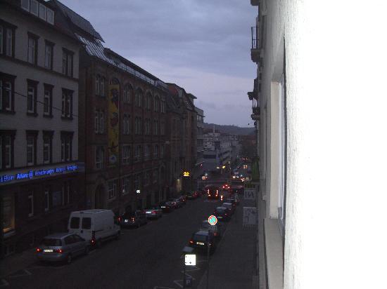 Gästehaus Ziegler: View down Blumenstrasse to the train stop from my balcony