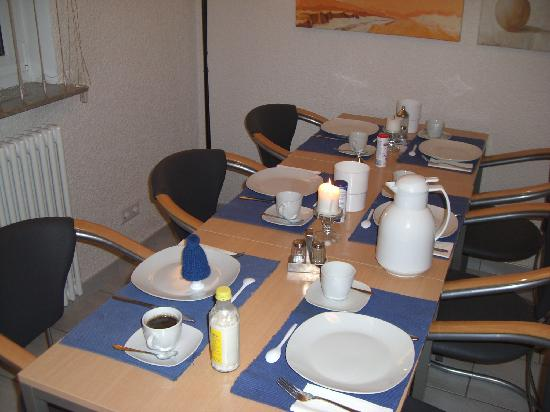 Gästehaus Ziegler: Breakfast table with hard boiled egg under the hat