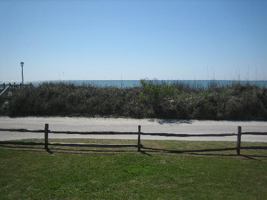 Myrtle Beach Travel Park: View from our RV door.  Ocean behind dune.
