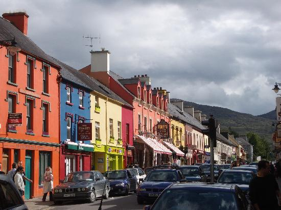 Driftwood: A street in Kenmare--note the hills in the background, so beautiful!
