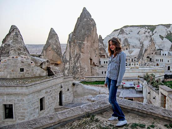 Cappadocia Cave Suites: My younger daughter standing on our room's terrace