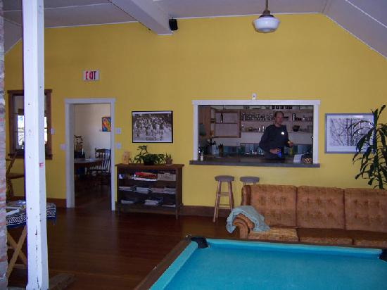 The Riding Fool Hostel: kitchen and common room