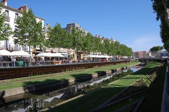 The canal running through Perpignan City