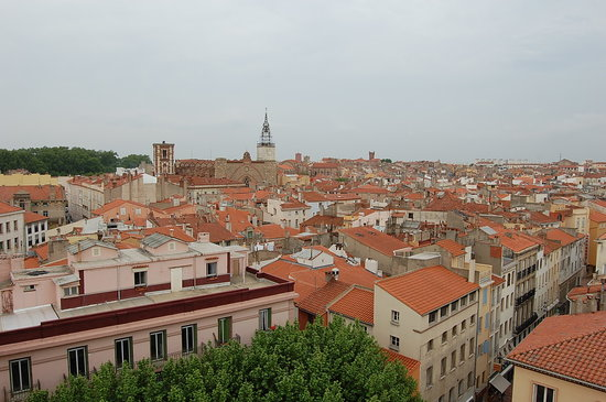 The view of Perpignan from the top of Palais Rois De Majorque