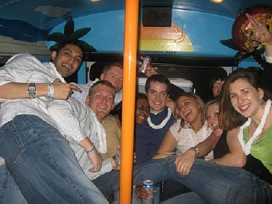 Boomerang Party Bus Nightlife Tour: A group of locals in the back of the bus!