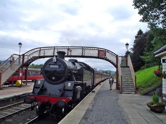 Aviemore, UK: La llegada del tren de vapor