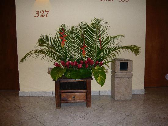 Tapachula, México: Fresh flower display in the hallway