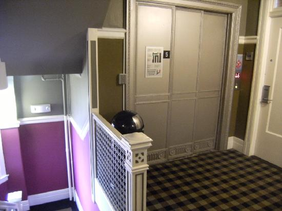 The Mosser : elevator and main stairway