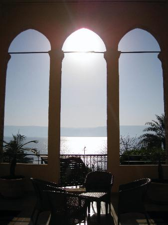 Scots Hotel: Sunrise over the Sea of Galilee from the balcony outside my room