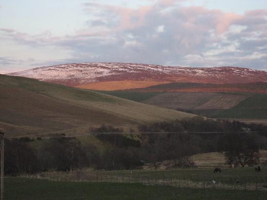 Minmore House: View from the bedroom at sunset