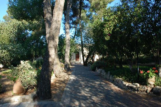 Ein Kerem, Israele: The garden and front view of the guest house