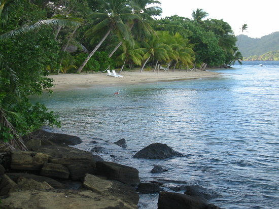Matangi Island, Fiji: the beach from our Bure