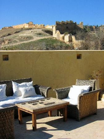 The rooftop terrace at Dar Roumana, looking towards the Borj Nord.